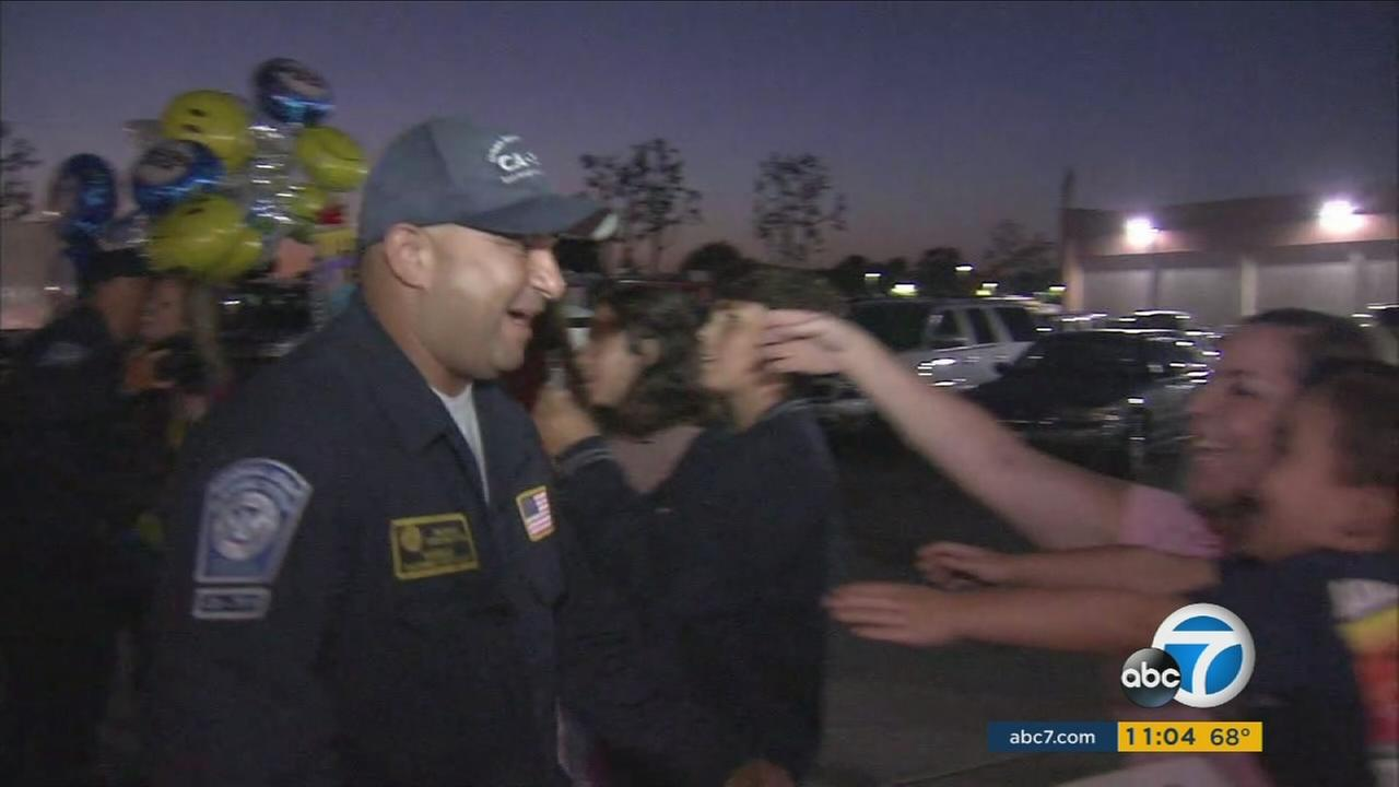 SoCal families welcome an LAFD taskforce returning from a hurricane rescue mission on Monday, Sept. 19, 2017.