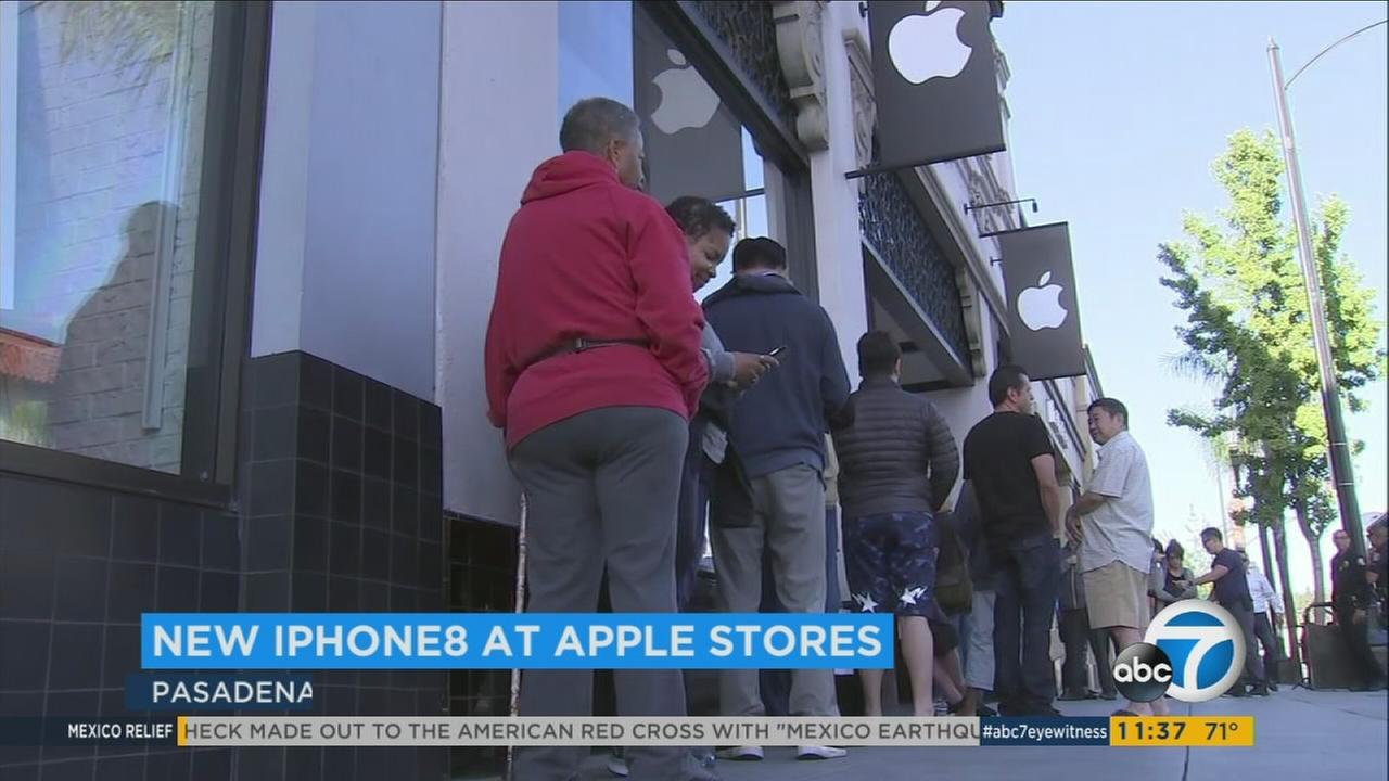 The line outside the Apple store in Pasadena was shorter than usual for the launch of the new iPhone 8.