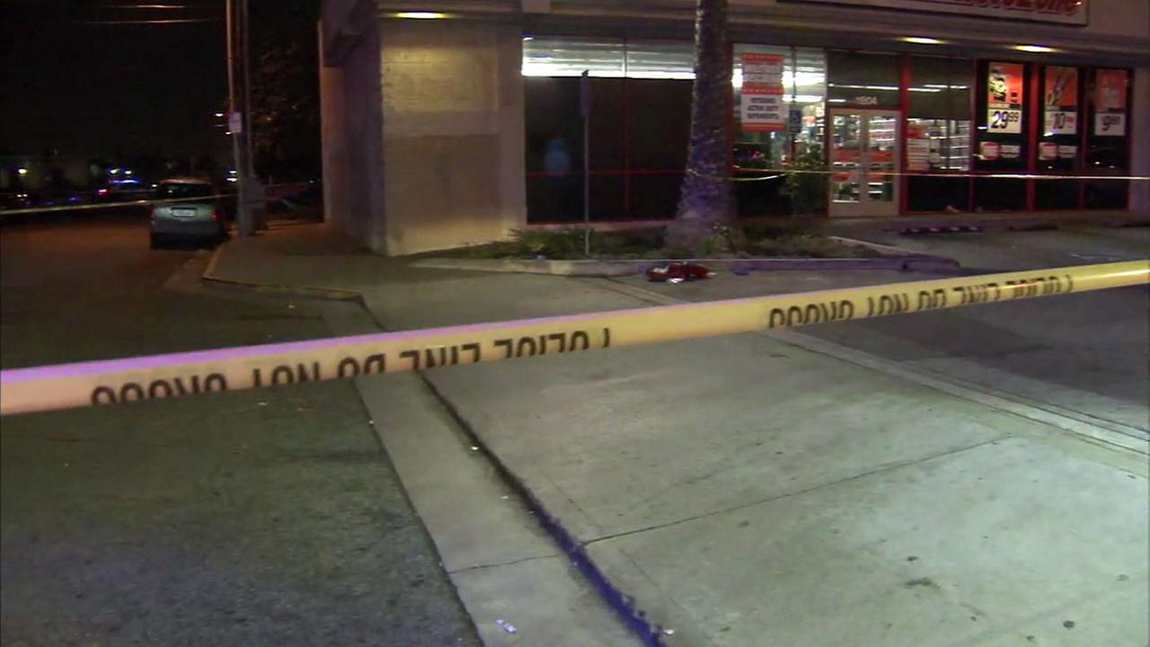 Authorities blocked off a portion of an Auto Zone parking lot in Hawthorne after a teen was found suffering from stab wounds on Saturday, Sept. 23, 2017.
