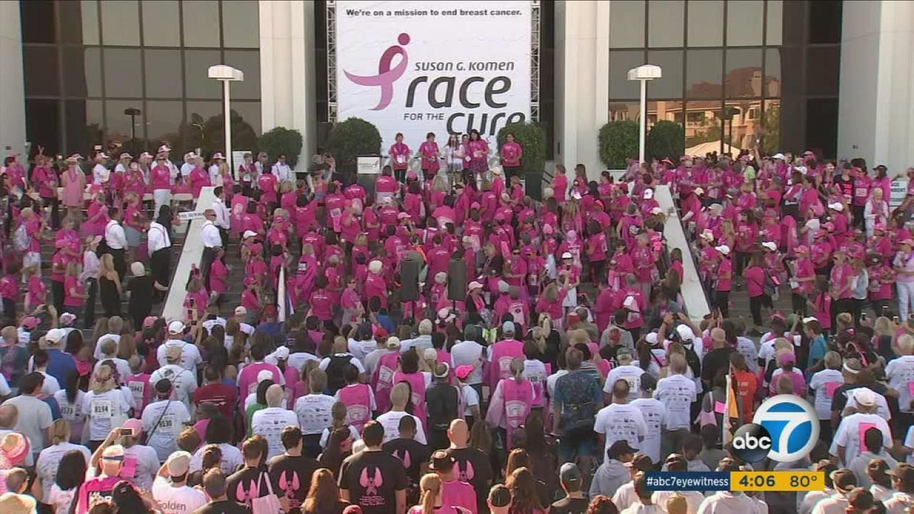 Thousands of people participated in the annual Susan G Komen-Orange County Race For the Cure on Sunday for breast cancer research and patients.