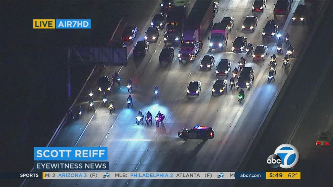 One person was hurt early Monday morning in a car-to-car-shooting in Cerritos that prompted authorities to shut down all northbound lanes of the 605 Freeway for several hours.