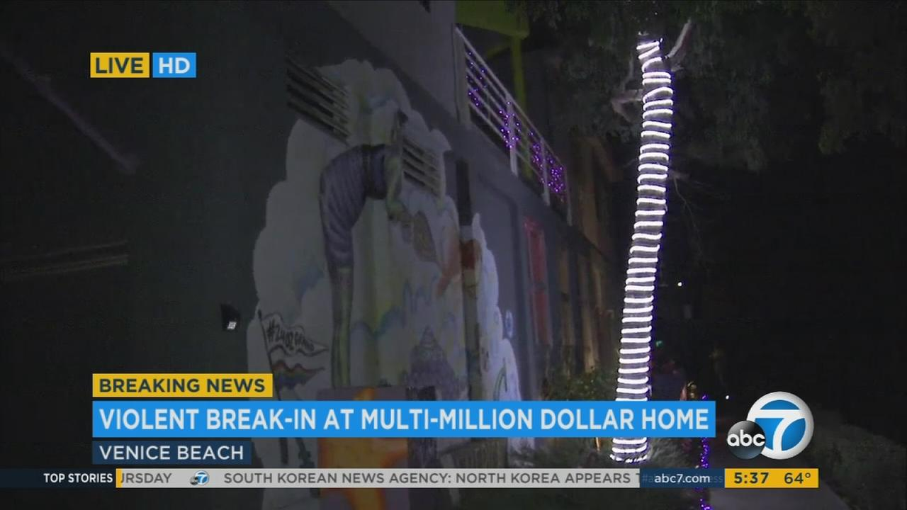 A man was shot with a pellet gun after two intruders broke into his multimillion-dollar home in Venice early Tuesday morning, authorities said.
