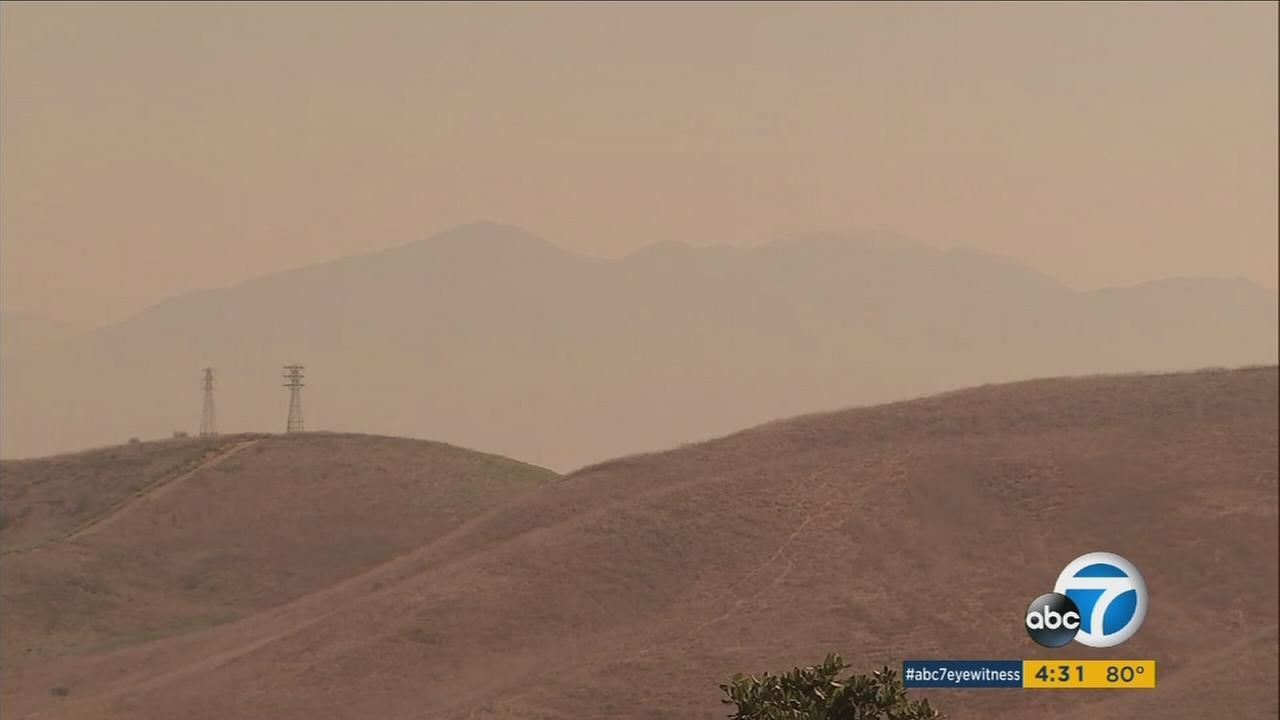 Smoke and haze from the Canyon fire is leading to unhealthy air quality in four Southern California counties.