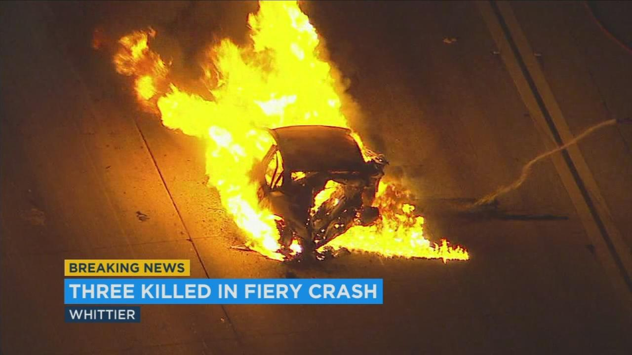 Three people were killed Tuesday in a multi-car crash that caused one vehicle to burst into flames and shut down the southbound 605 Freeway in Whittier overnight.