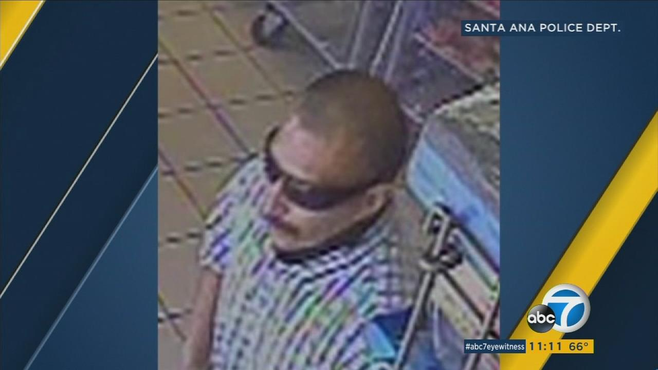 A photo shows a suspect who is accused of robbing several stores in Santa Ana.