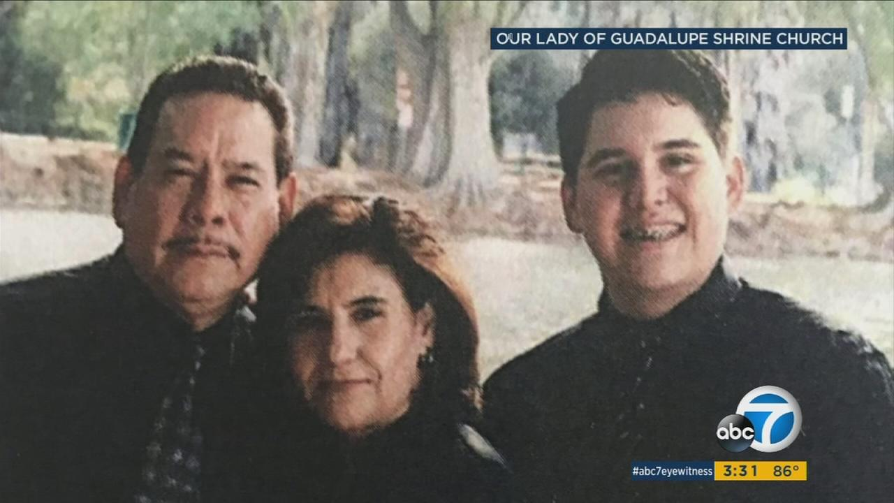Mario, Maribel and their son Oscar Davila are shown in a photo from their church, Our Lady of Guadalupe Shrine in Riverside.