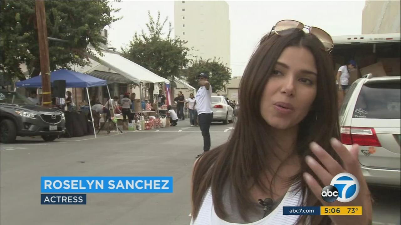 Puerto Rican actress Roselyn Sanchez organized an event in Hollywood to collect supplies to help the people of Puerto Rico devastated by Hurricane Maria.