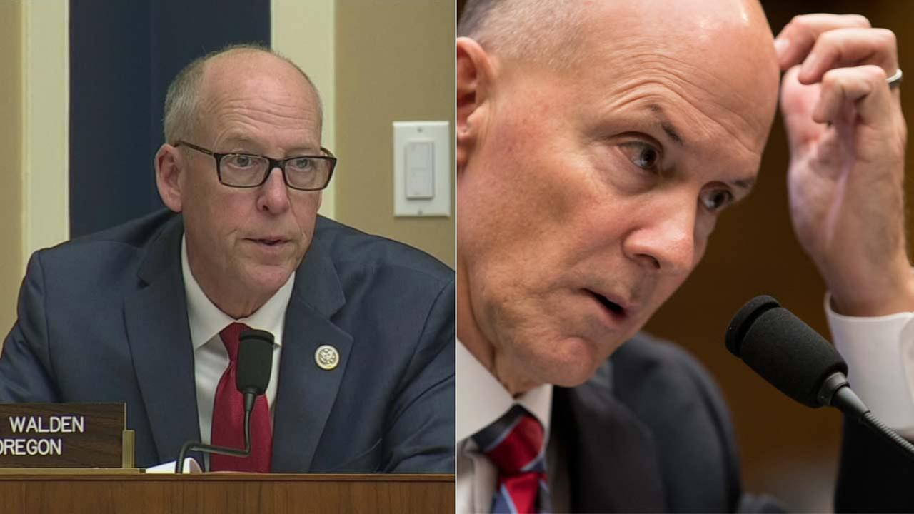 Rep. Greg Walden, left, spoke to  Richard F. Smith, the former CEO of Equifax, on Capitol  Hill in Washington, Tuesday, Oct. 3, 2017.