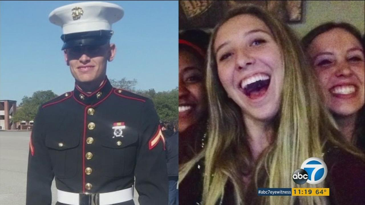U.S. Marine Austin Cox and Katrina Hannah are shown in undated photos next to each other.