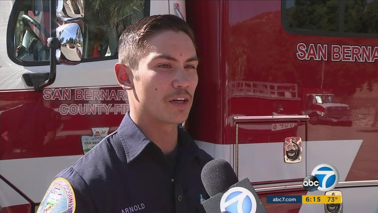 Two San Bernardino County firefighters ran through flying bullets in Las Vegas to save others before one of them was struck.