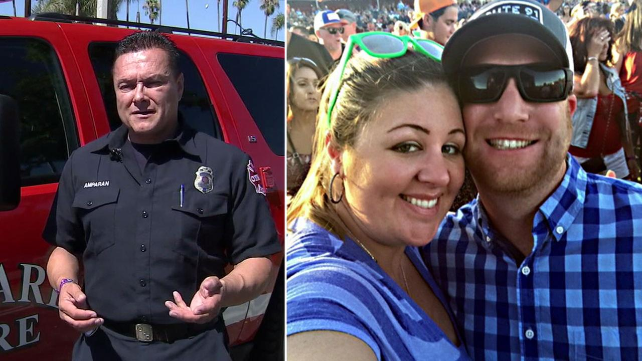 Jino Arampan, an Oxnard firefighter, and Rebecca Morse and her husband are shown in photos.