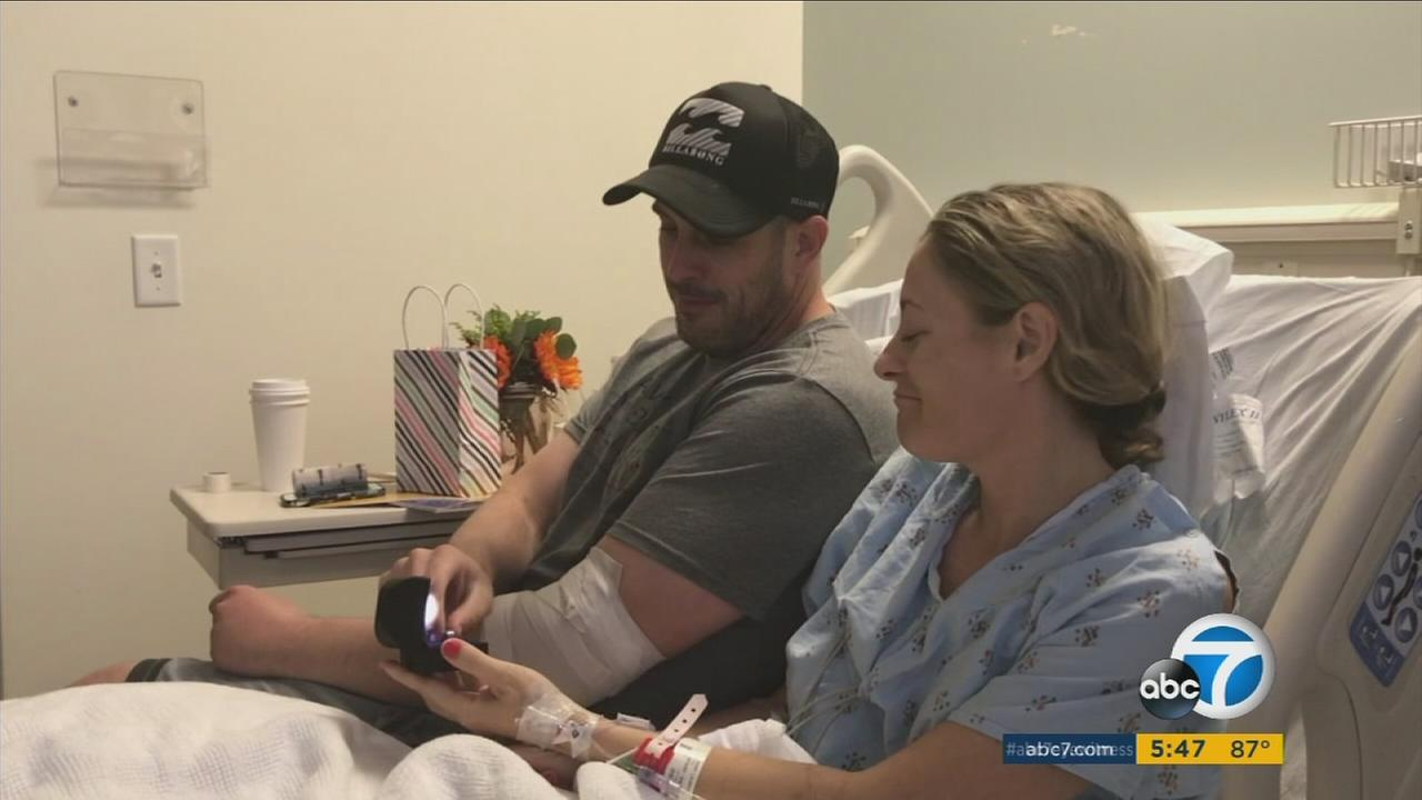 An Orange County man who lost his wedding ring in the Las Vegas mass shooting got a special surprise from his wounded wife on Friday, Oct. 6, 2017.