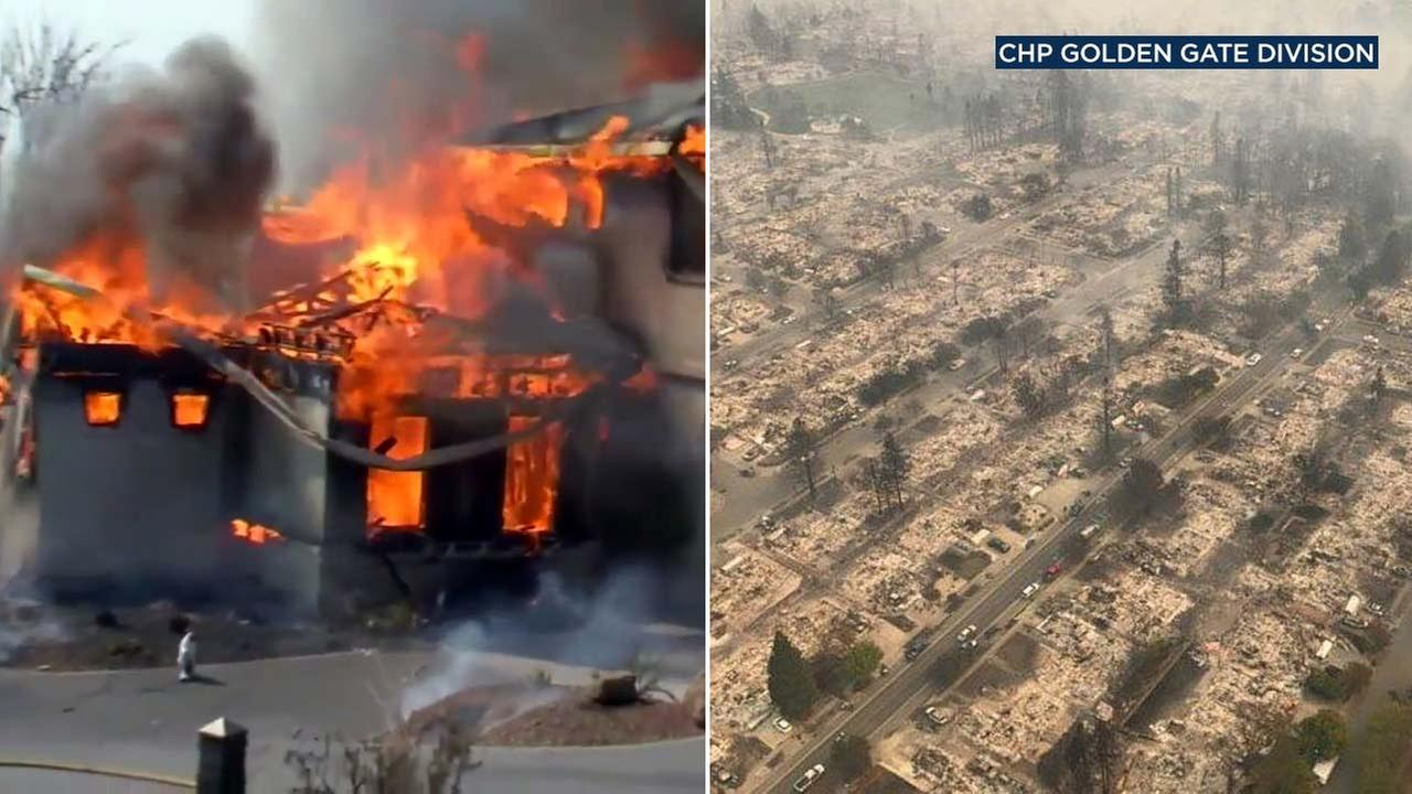 (Right) This photo from the CHP shows Santa Rosa leveled by flames. (Left) A structure in Northern California goes up in flames.