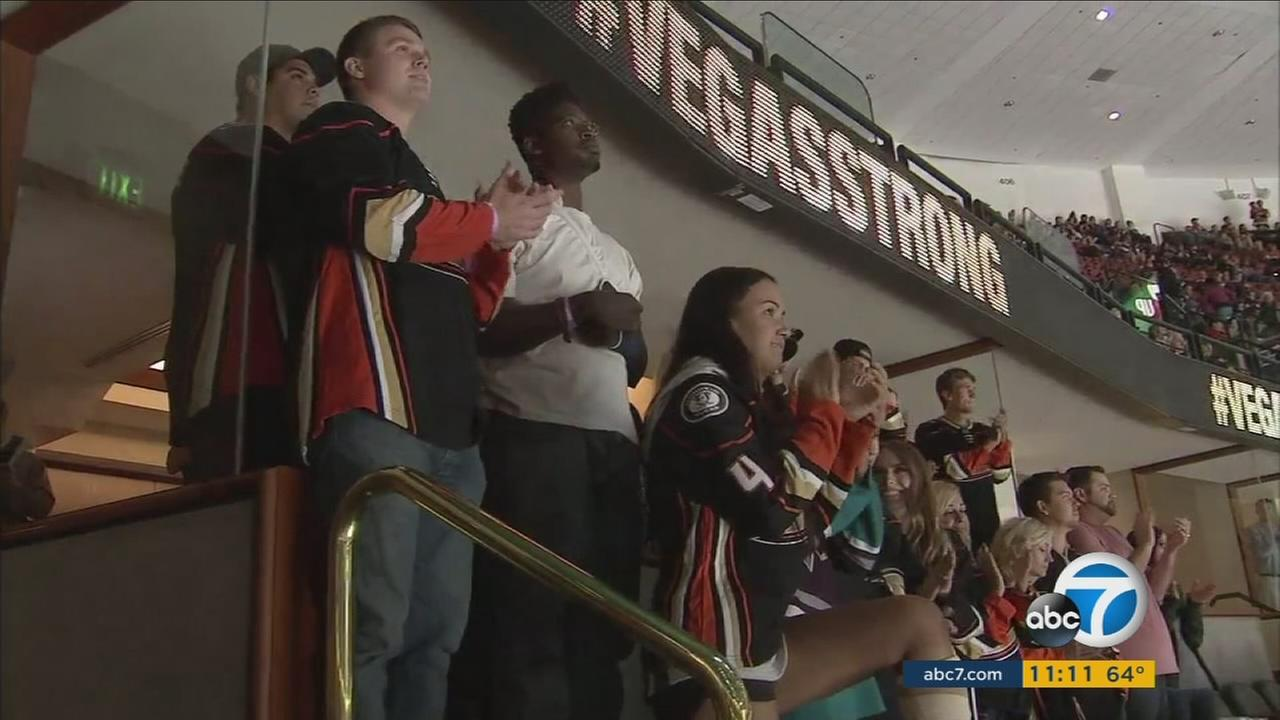 Las Vegas shooting survivors honored at the Anaheim Ducks game on Wednesday, Oct. 11, 2017.