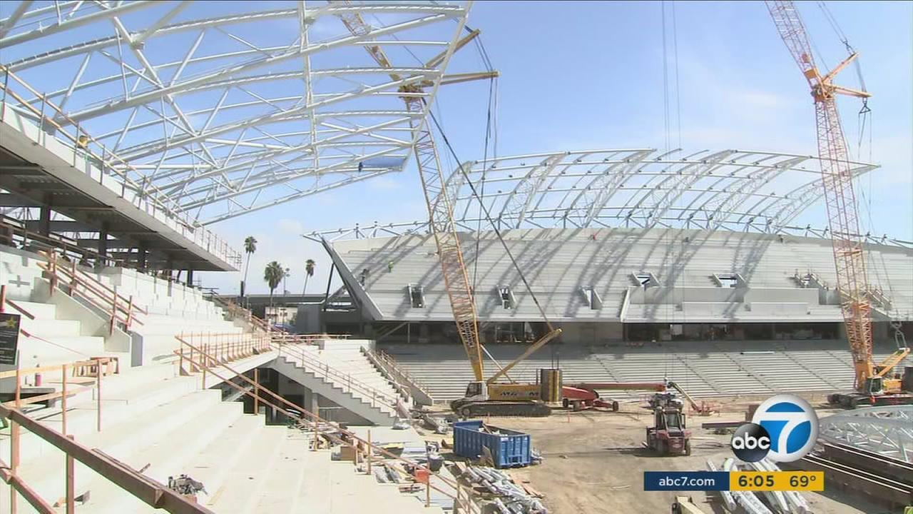 The Banc of California Stadium, which will host the new Los Angeles Football Club in its first season, is taking shape in Exposition Park.