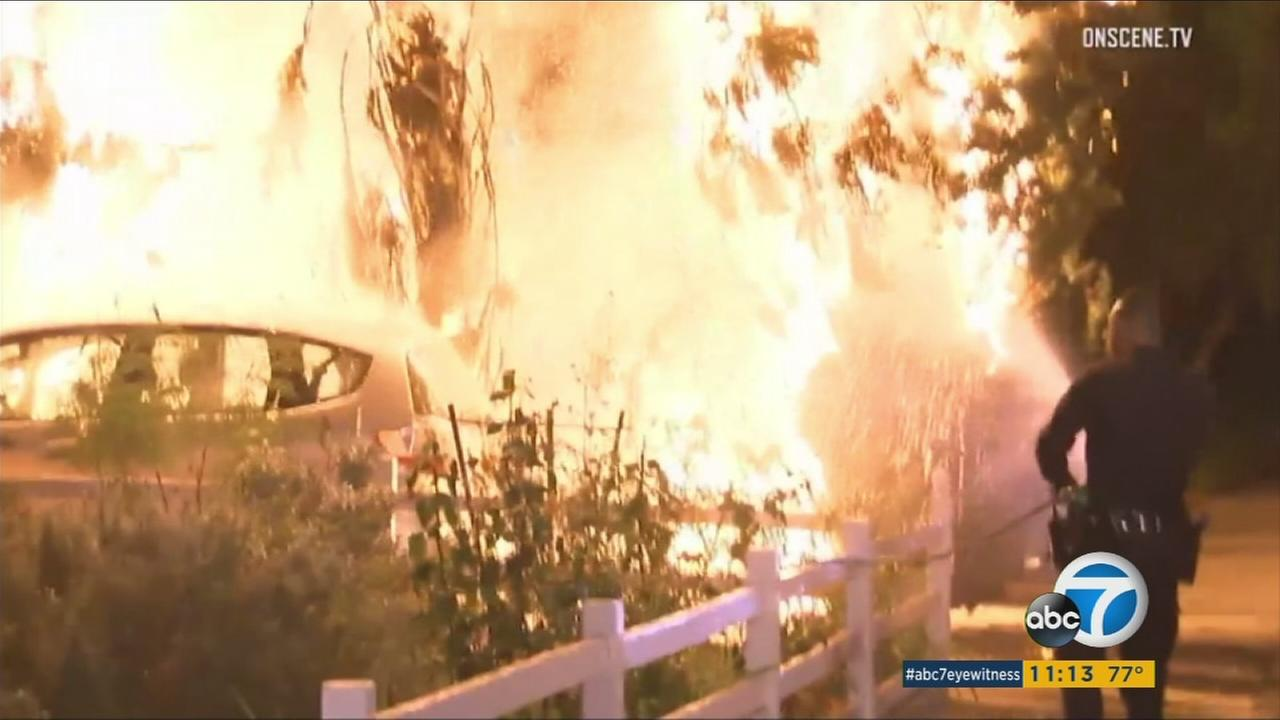 Los Angeles police say they have detained a woman who they believe fits the description of the suspect responsible for several arson incidents in North Hollywood.