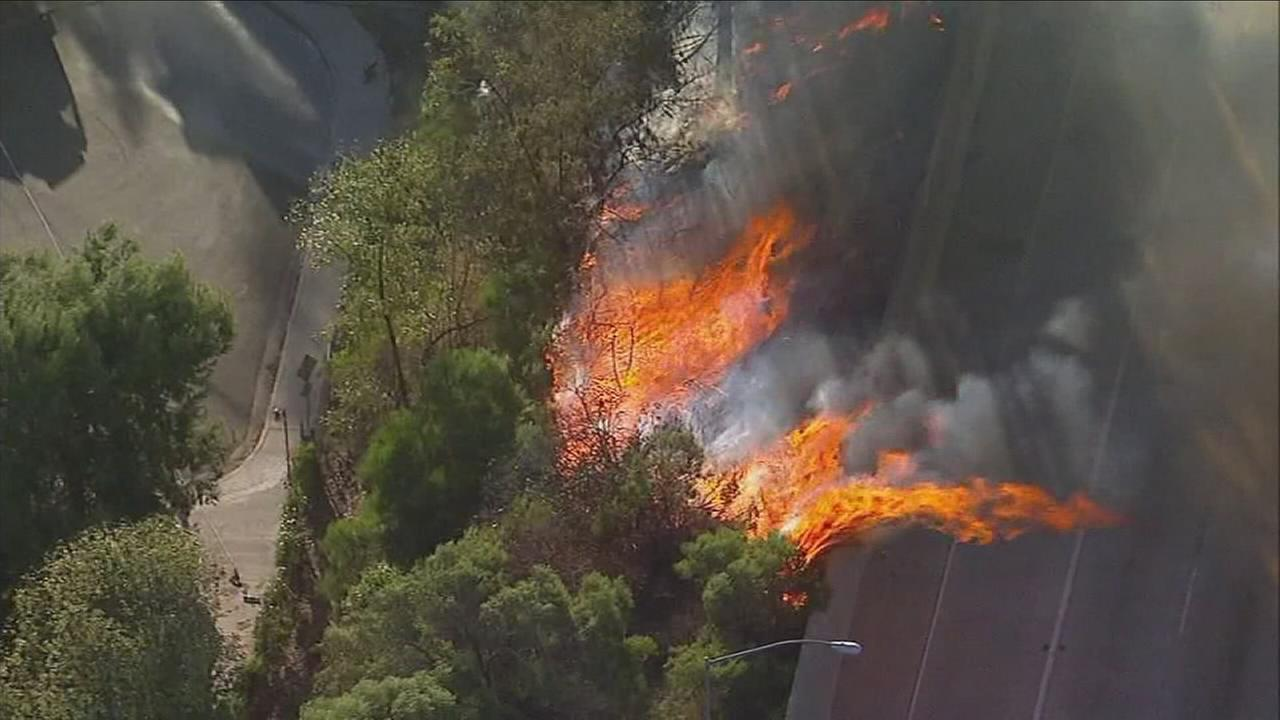 A fire erupted on the side of the 118 Freeway in Granada Hills Tuesday morning amid hot, dry and windy conditions.