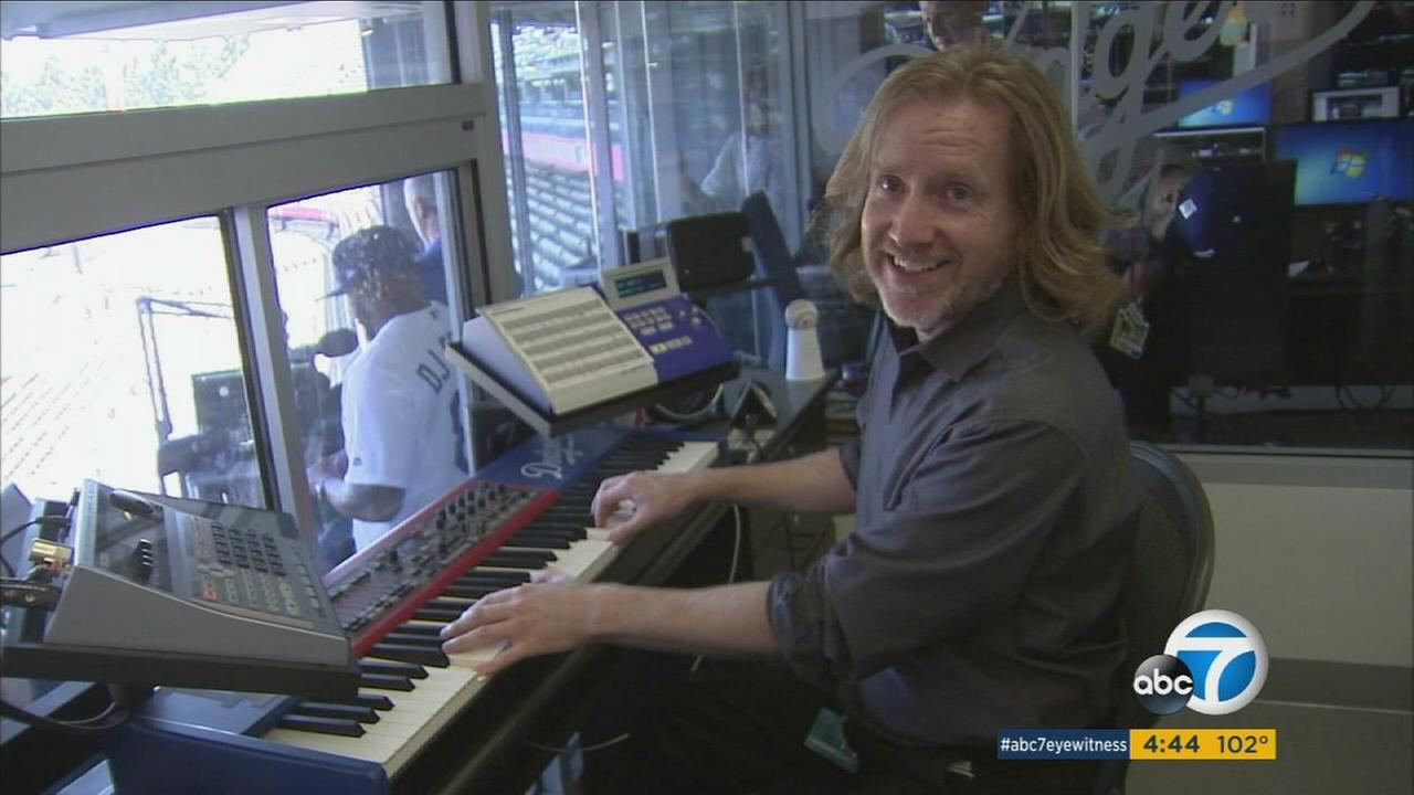 Dieter Ruehle, who is also organist for the Lakers and Kings, is thrilled to pump up Dodger fans for the World Series.