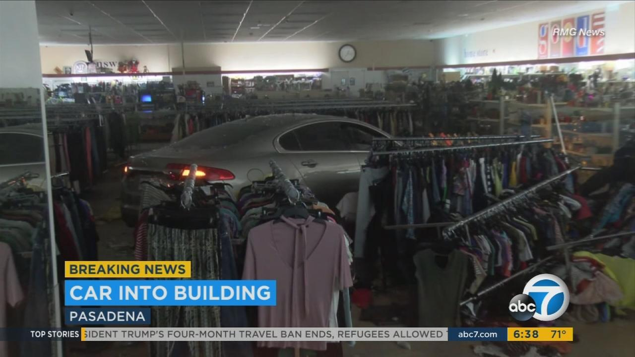A driver donated a coffee maker after he apparently fell asleep at the wheel and slammed into a Goodwill store in Pasadena.
