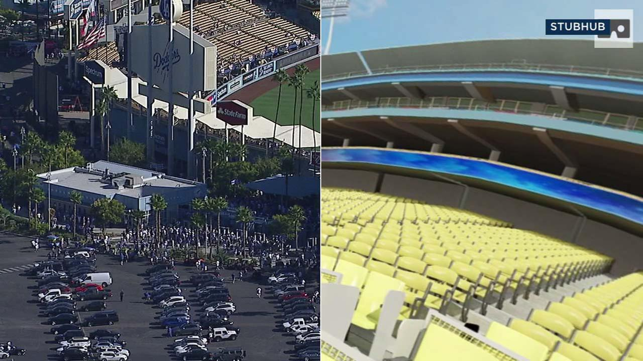 (Left) Dodger Stadium is seen in an aerial photo. (Right) This image from StubHub shows the inside of Dodger Stadium.
