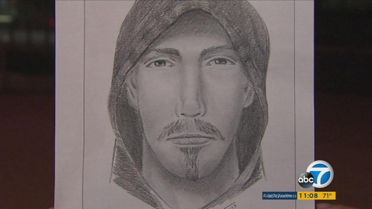 A sketch released by the LAPD of a man accused of assaulting a female jogger in Valley Glen on Thursday, Oct. 27, 2017.