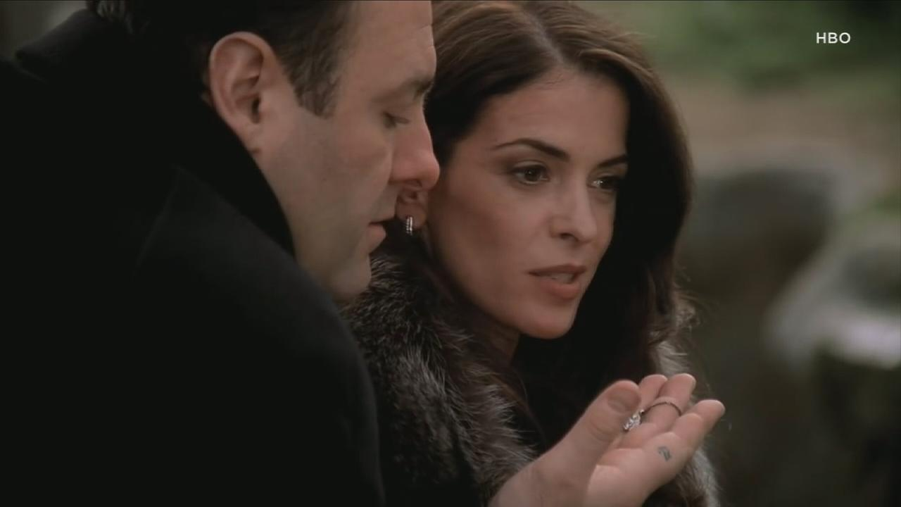 Annabella Sciorra is shown in a screenshot from HBOs The Sopranos.