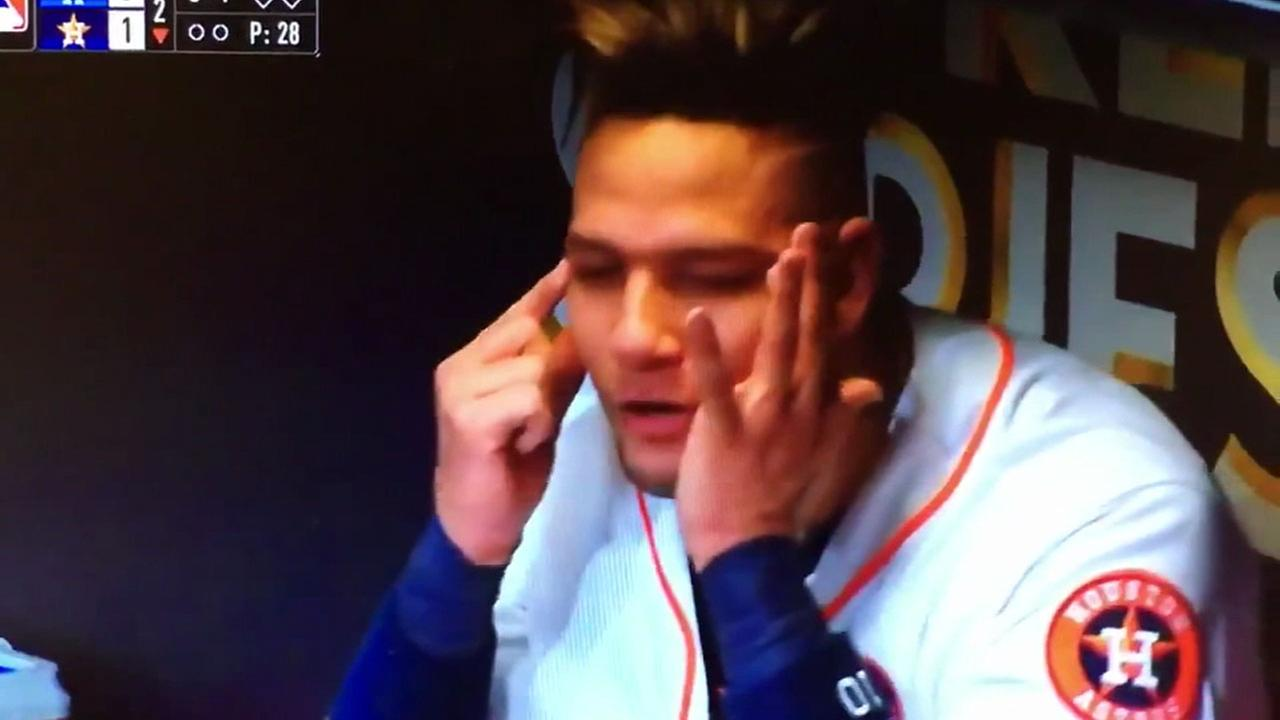 The Astros Yuli Gurriel is shown on video doing what appears to be a racist gesture, slanting his eyes to mock the Asian heritage of Dodgers pitcher Yu Darvish.