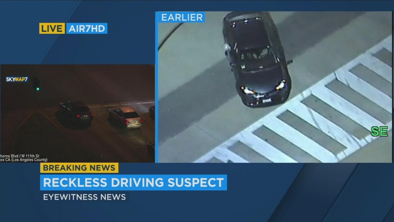 A reckless driving suspect blew through red lights and traveled at high speeds on the 710 Freeway and surface streets in Los Angeles County Monday night.