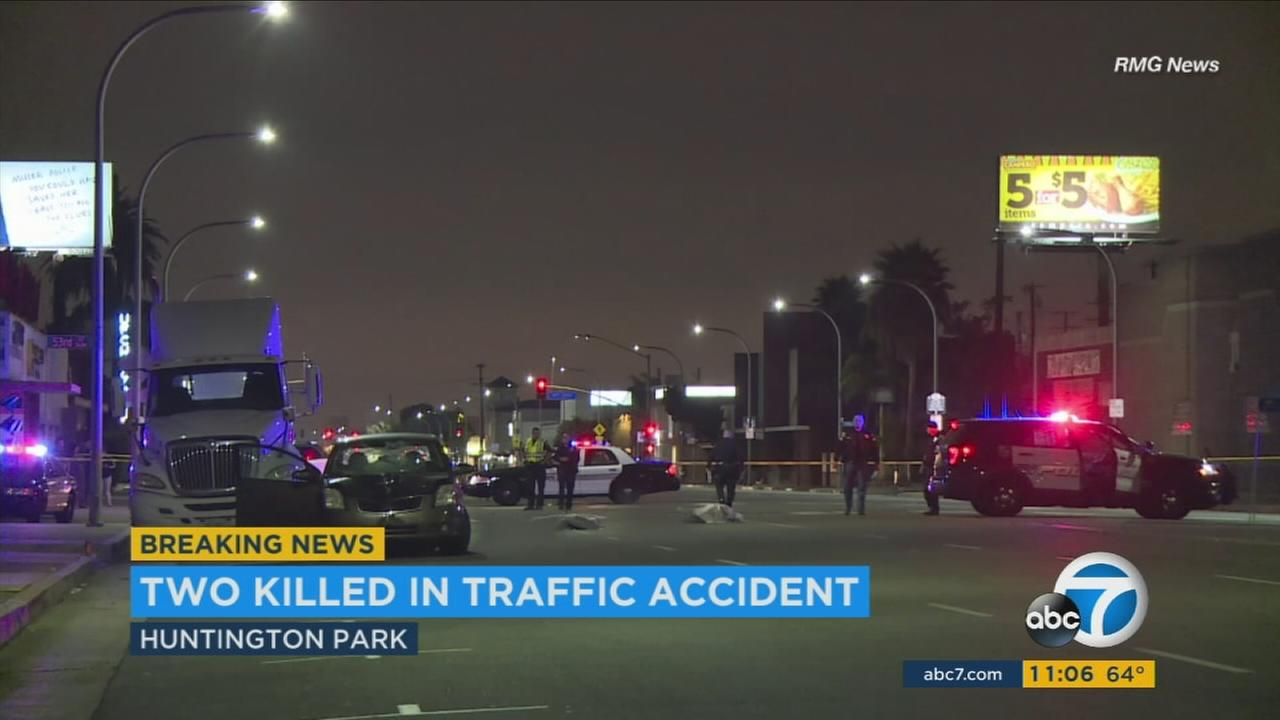 Authorities blocked off the street after two people were killed in Huntington Park on Tuesday, Oct. 31, 2017.