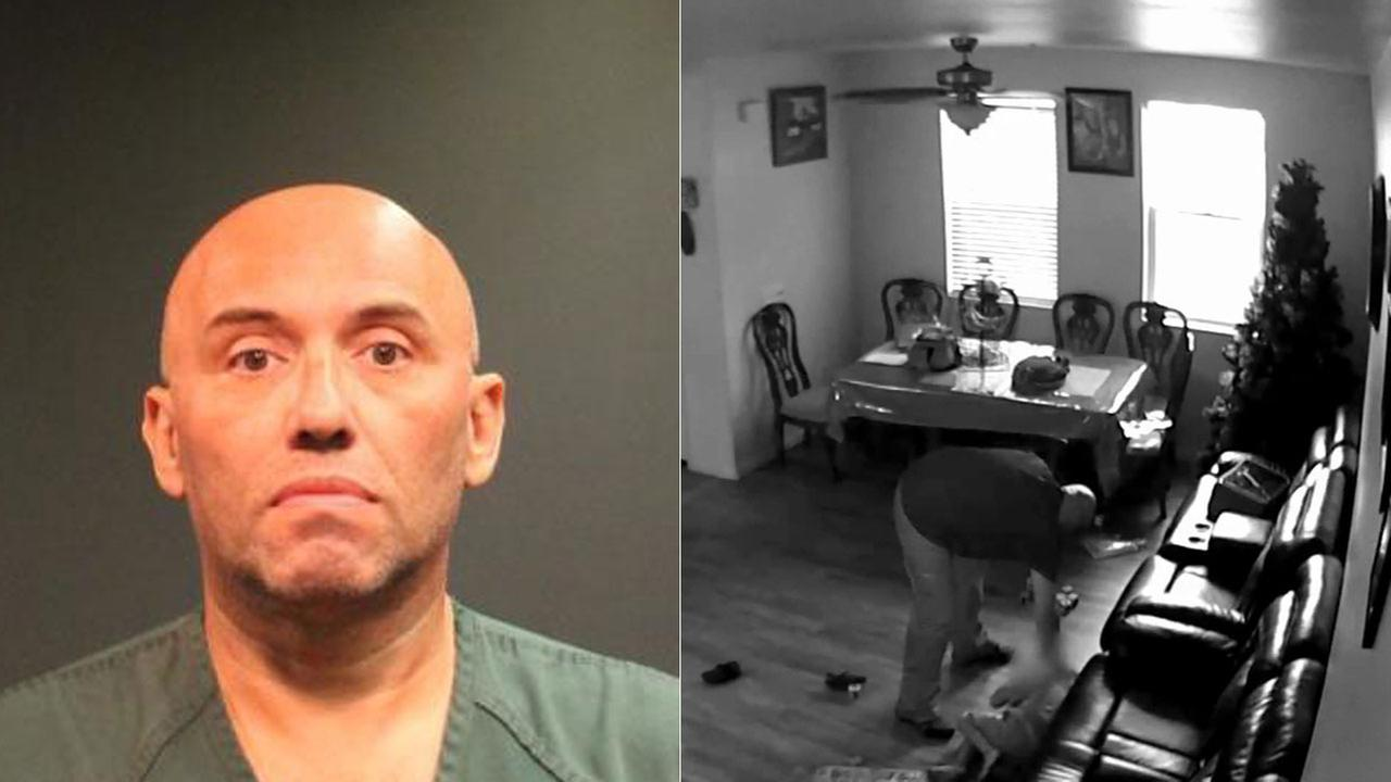 Oscar Felix, 54, is shown in a mugshot alongside the surveillance footage that shows him allegedly slapping the boy he takes care of in the face.