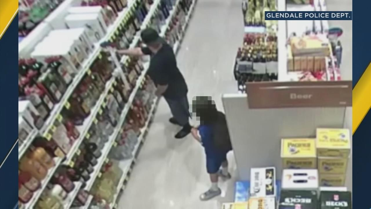 Glendale police are looking for a man who stole alcohol and candy with the help of a child he brought into a Rite-Aid store.