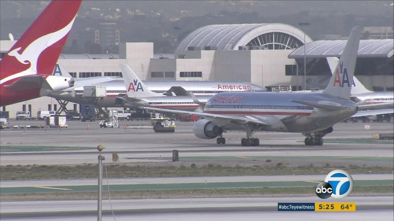 American Airlines has ceased using one of its catering companies at Los Angeles International Airport because of traces of listeria found at its facility.