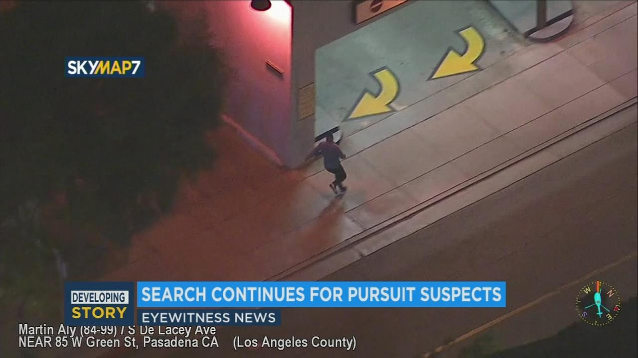 One of three suspects who escaped a chase that ended in Pasadena on Thursday, Nov. 2, 2017.