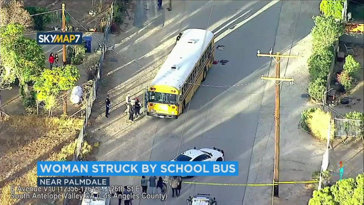 The scene of a school bus crash that left a pedestrian seriously hurt on Friday, Nov. 3, 2017.