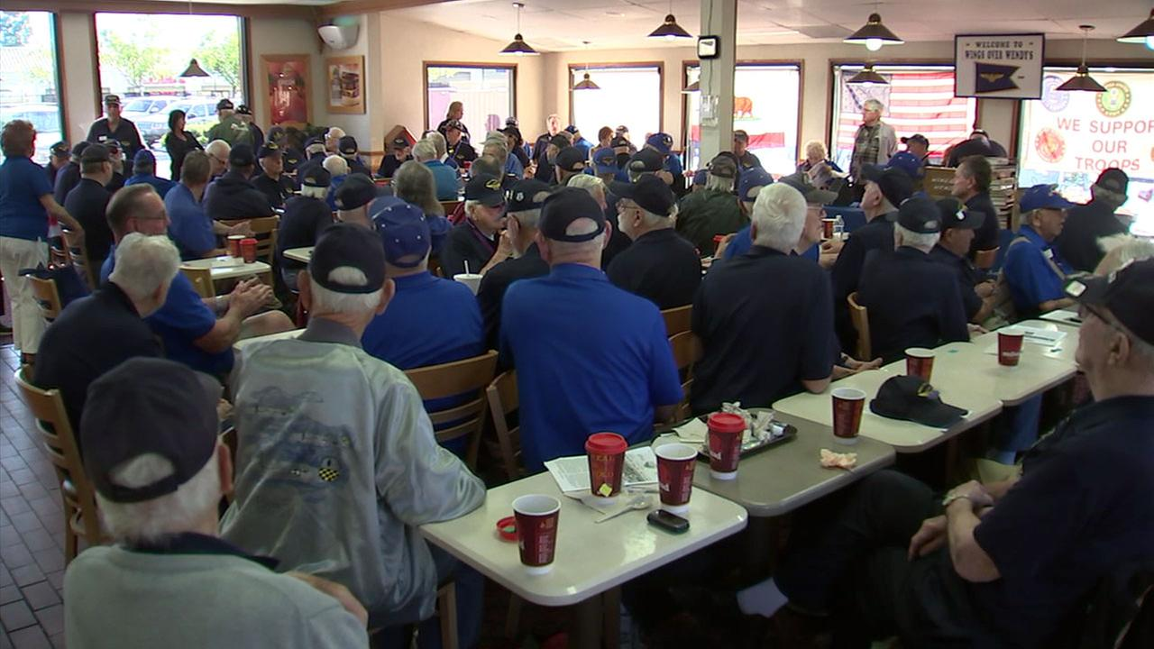 A group of about 300 veterans gathered inside a West Hills Wendys, where they often go to mingle and be around one another.