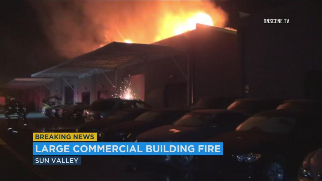 Flames ripped through an auto repair shop in Sun Valley during an overnight blaze on Friday, Nov. 10, 2017.