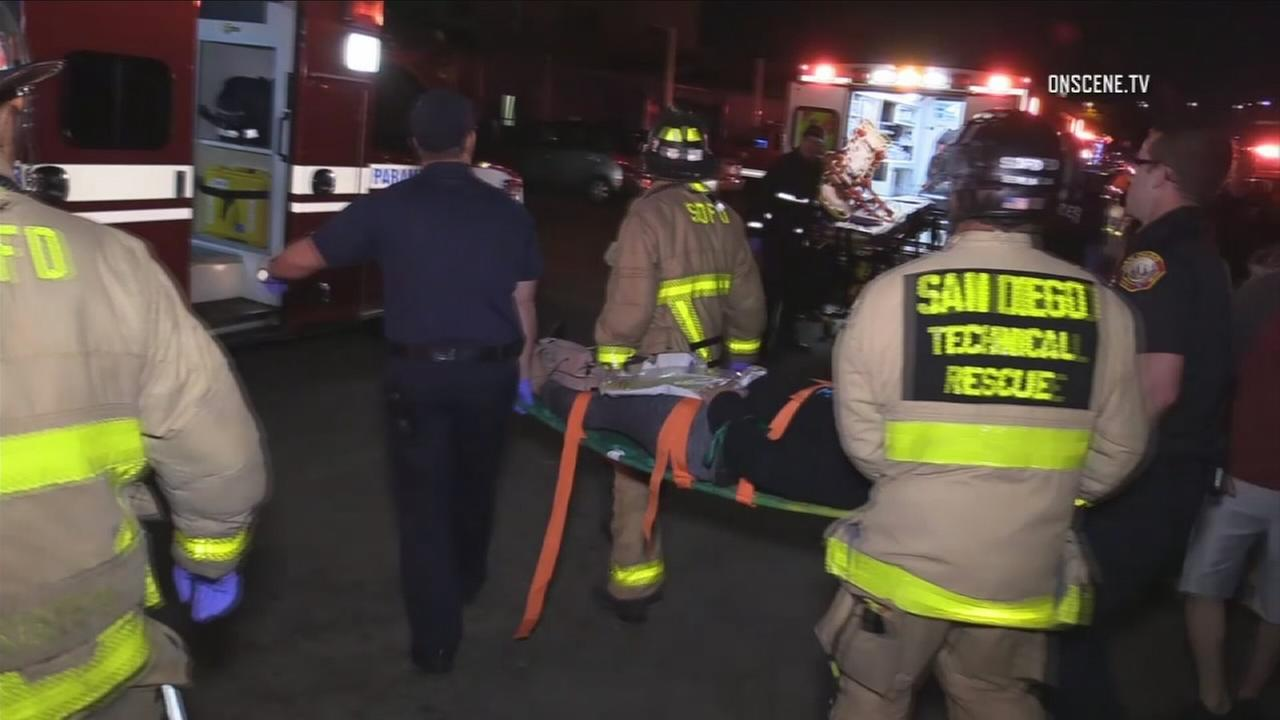 Authorities transported one of the 23 people injured when a platform collapsed at a parkour business in San Diego on Saturday, Nov. 11, 2017.