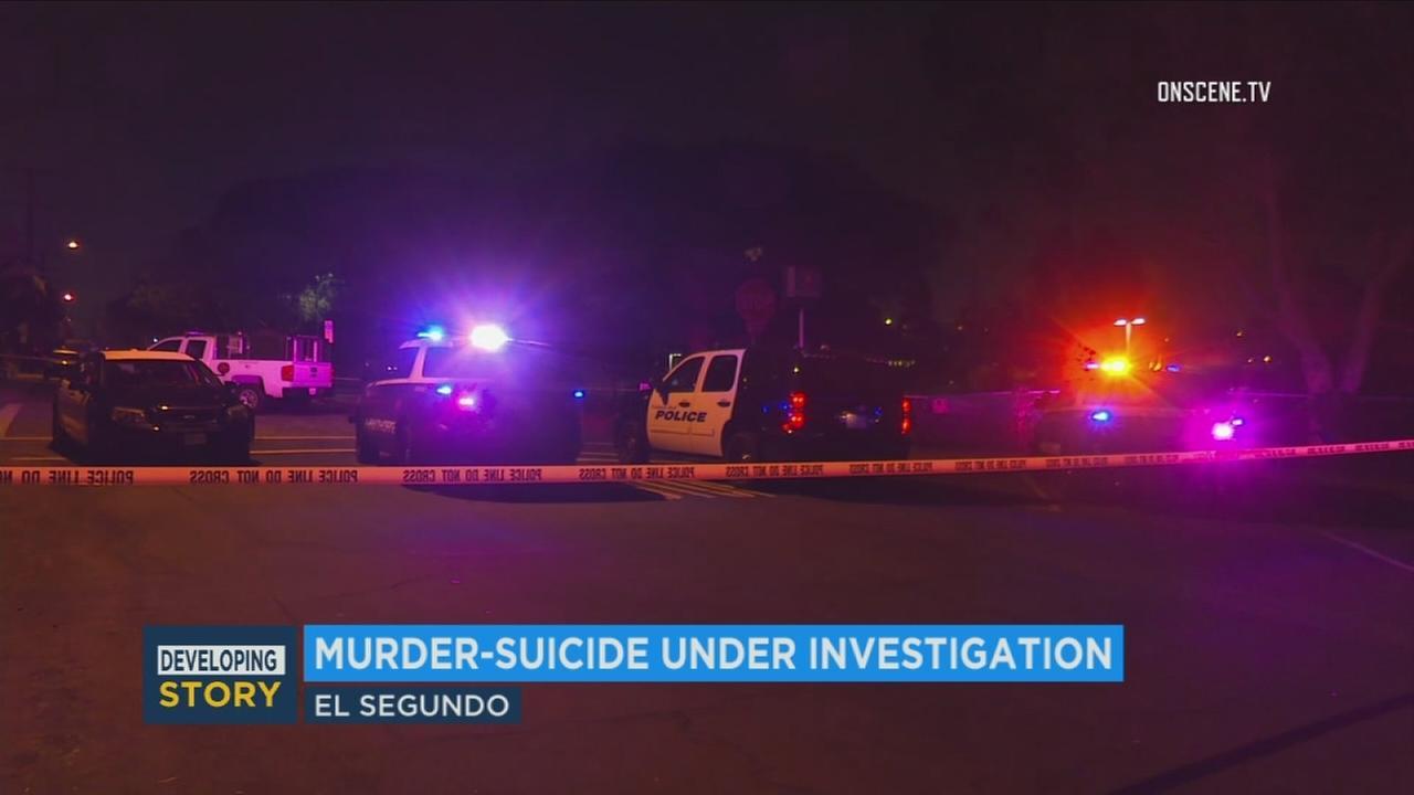 Patrol vehicles at the scene of a murder-suicide in El Segundo on Saturday, Nov. 11, 2017.