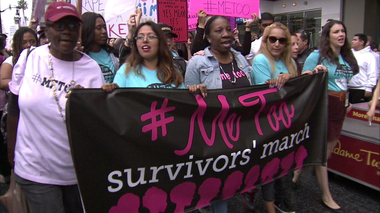 Women marched during the #MeToo rally in Hollywood to put an end to sexual assault and harassment on Sunday, Nov. 12, 2017.