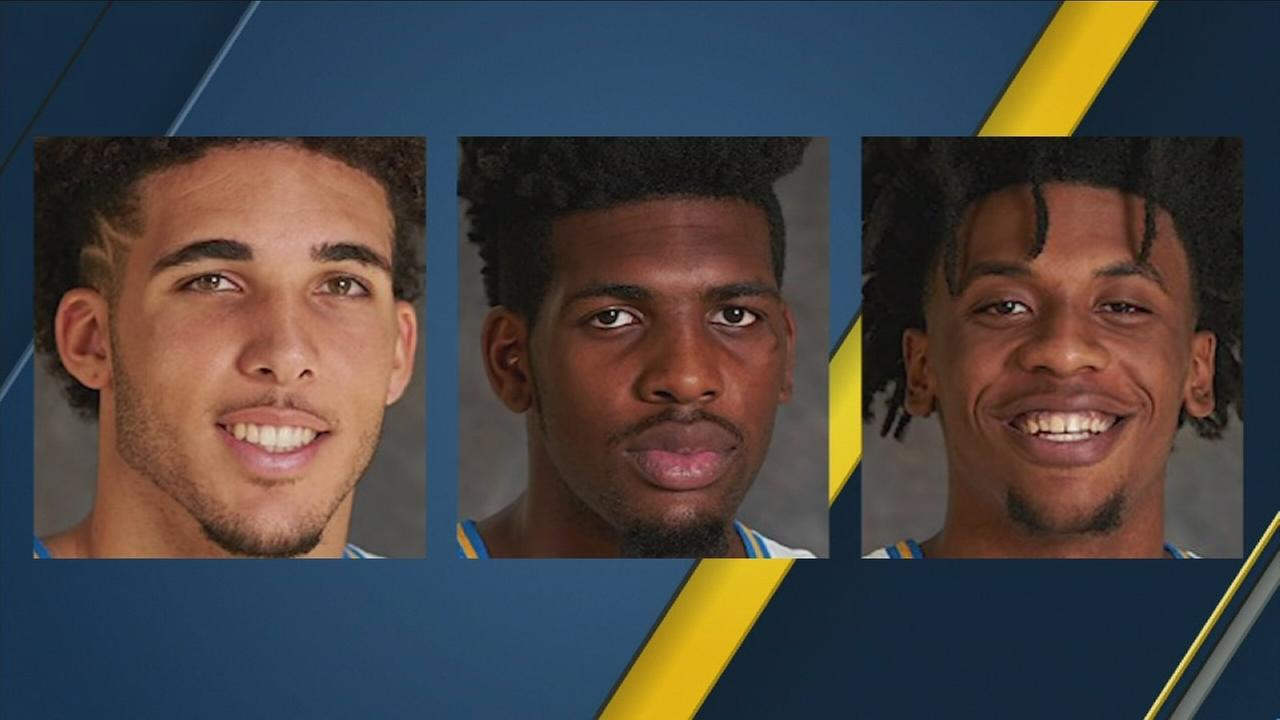 LiAngelo Ball, Cody Riley and Jalen Hill are shown in stock images from the UCLA basketball team.