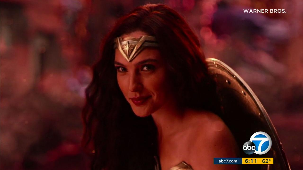 Gal Gadot as Wonder Woman is shown in footage from Justice League.