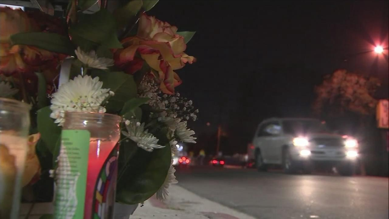 One of several memorials for a pedestrian killed by a vehicle is shown in Los Angeles on Monday, Nov. 13, 2017.