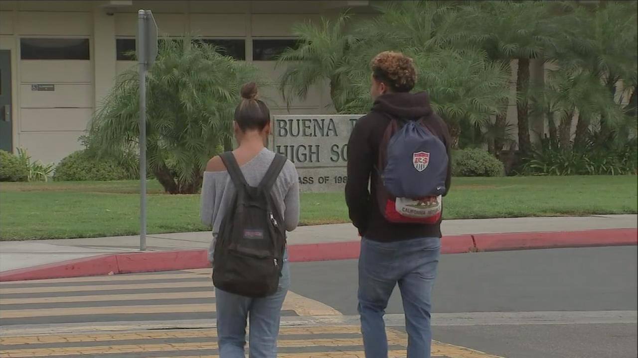 Students walk at Buena Park High School amid a threat of violence at the campus on Thursday, Nov. 16, 2017.