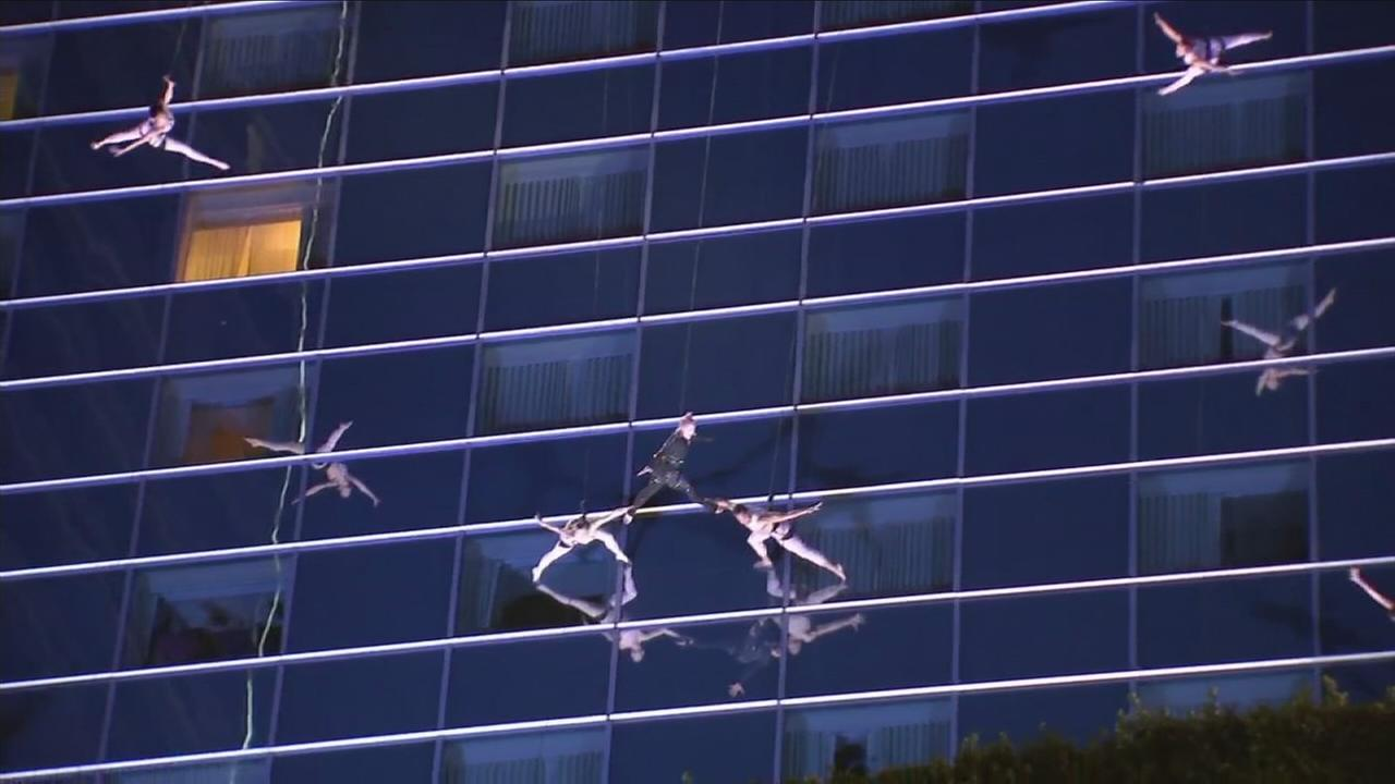 Pop sensation P!nk is shown dancing on the side of the JW Marriot hotel during a rehearsal for the American Music Awards.