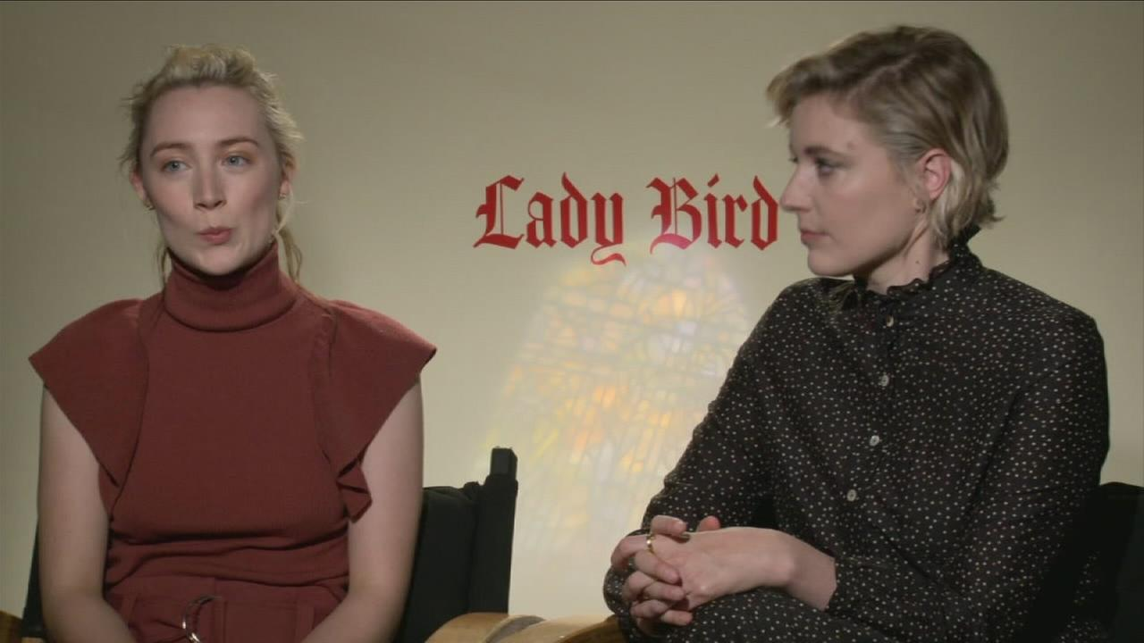 Saoirse Ronan and Greta Gerwig are shown talking about their new movie Lady Bird.