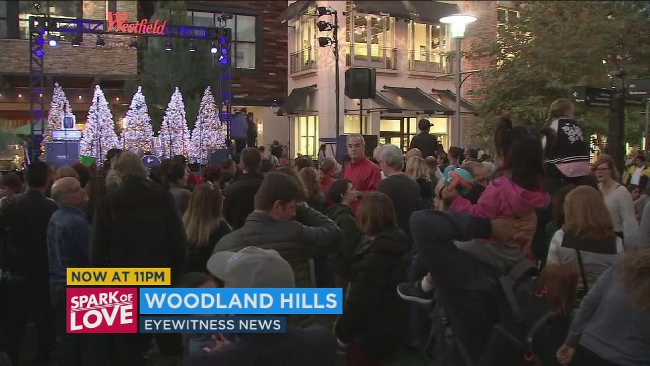 Saturday night was the official kick off for the holiday season at the village at Westfield Topanga Mall in Woodland Hills.