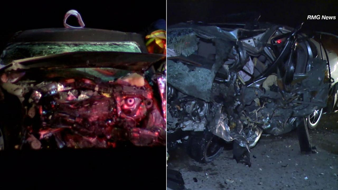 Photos show two mangled vehicles after two separate wrong-way crashes in different Los Angeles County freeways on Sunday, Nov. 19, 2017.