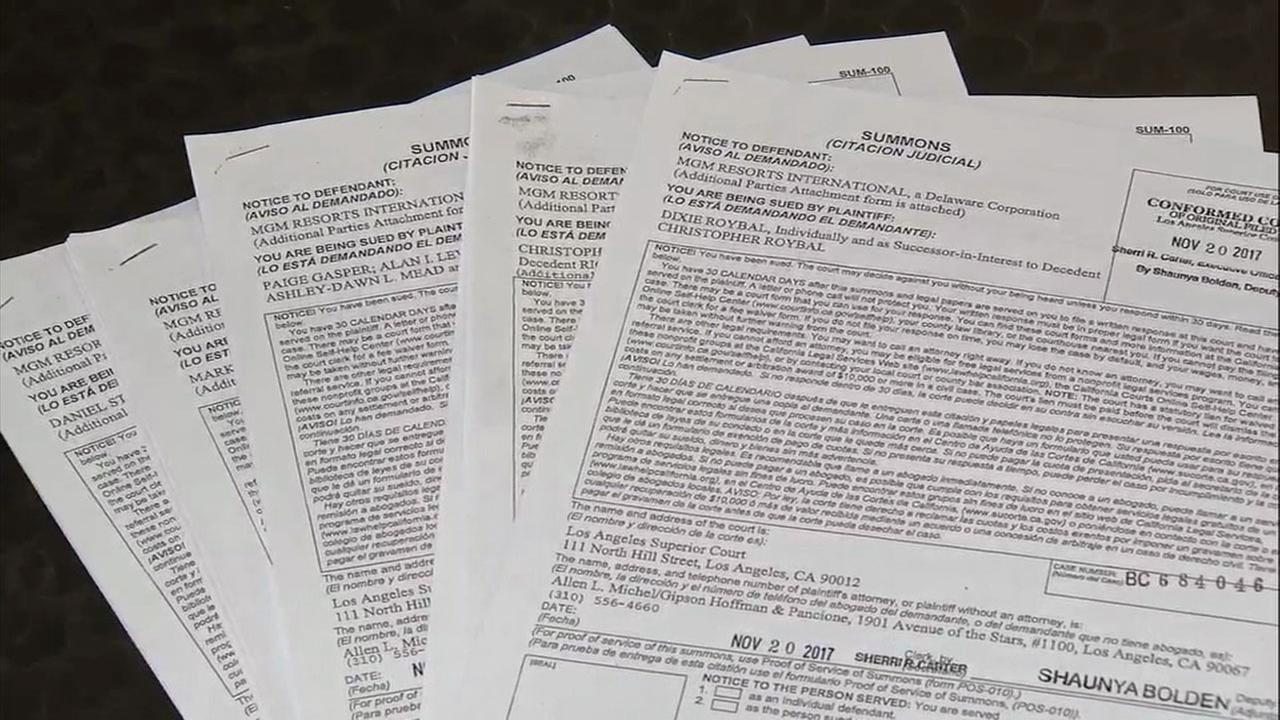 Documents show the lawsuits filed against MGM Grand Resorts and its entities, Live Nation and CSC, a security company, in the wake of the Las Vegas shootings.