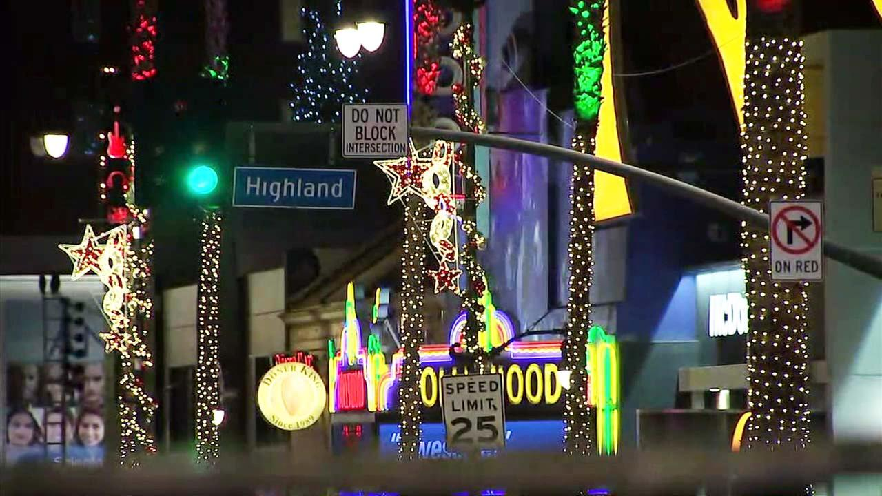 Hollywood Boulevard is seen decorated with holiday lights.