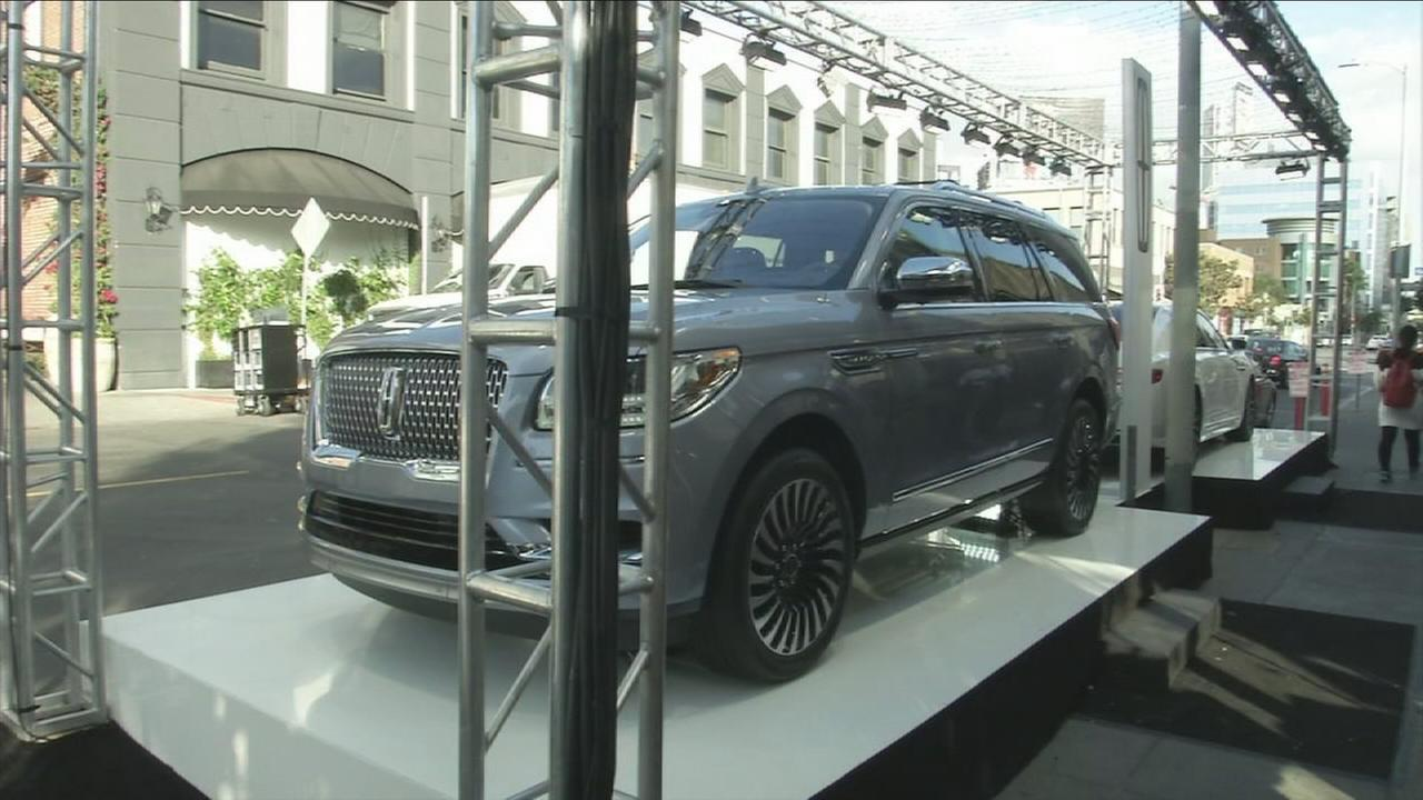 A Lincoln SUV is shown in a photo during a preview event for press for the Greater Los Angeles Auto Show in downtown.